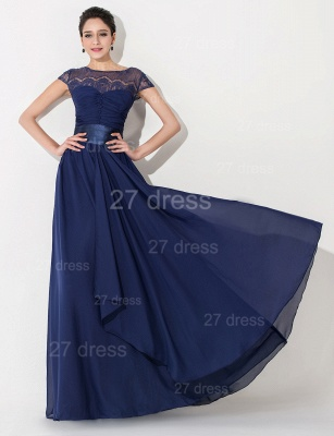 Newest Illusion Cap Sleeve Evening Dress A-line Bowknot_1