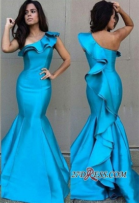 Mermaid Newest One-Shoulder Ruffles Sleeveless Prom Dress_2