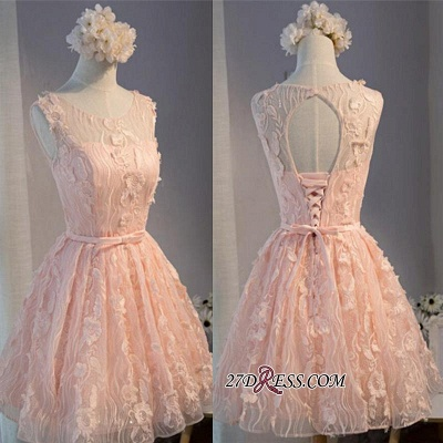 Mini Sleeveless Scoop Bows With Homecoming Dresses Applique Sashes Short A-Line Cocktail Dresses_1
