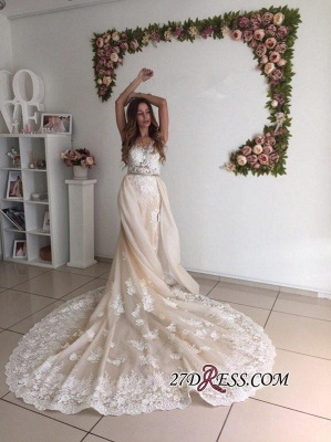 Mermaid Gorgeous Detachable-Cathedral-Train Tulle Lace Wedding Dresses_2