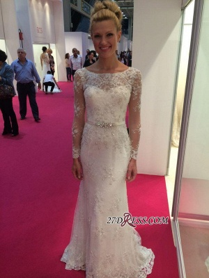 2020 Lace Buttons Mermaid Appliques Crystal Long-Sleeves Elegant Wedding Dress_2