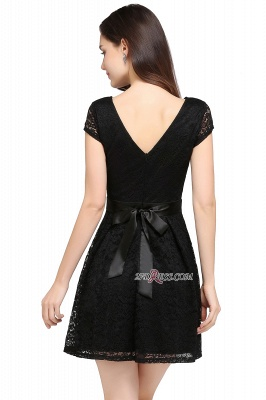 Cap-Sleeves Short Sash Simple Jewel Black Lace Homecoming Dress_3