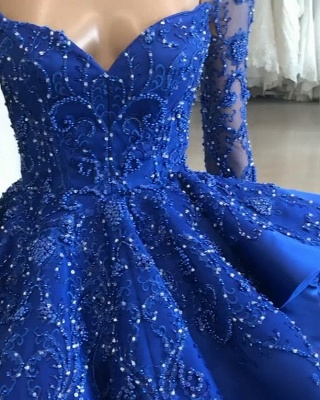 Gorgeous Royal Blue Lace Ruffled Evening Gown | 2020 Beads Prom Dress BC1125_3
