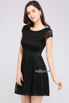 Cap-Sleeves Short Sash Simple Jewel Black Lace Homecoming Dress_5