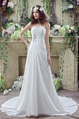 Newest Strapless White Beadings 2020 Wedding Dress A-line Sweep Train_1