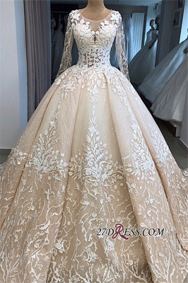 Long-Sleeves Appliques Scoop Brilliant Ball-Gown Wedding Dresses_3