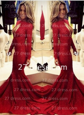 Sexy Lace Vintage Retro Mermaid prom Dresses Red Front Open Long Sleeve Prom Gowns with Sweep Train_4