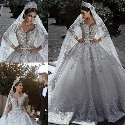 Glamorous Long Sleeve Ball Gown Wedding Dress | 2020 Lace Appliques Bridal Gowns On Sale_4