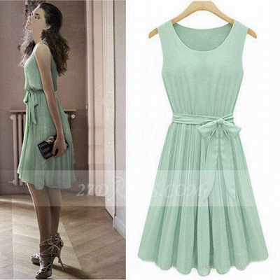 Cocktail Short Green Homecoming Dresses with Light 2020 Jewel Sleeveless Chiffon Ruffles Bow Sash Simple Gowns_6