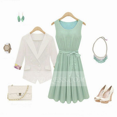 Cocktail Short Green Homecoming Dresses with Light 2020 Jewel Sleeveless Chiffon Ruffles Bow Sash Simple Gowns_3