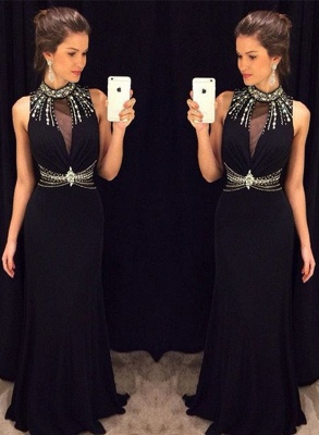 Delicate Black Mermaid Crystals Prom Dress 2020 High Neck Sleeveless_1