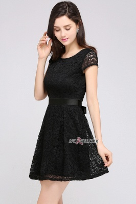 Cap-Sleeves Short Sash Simple Jewel Black Lace Homecoming Dress_4