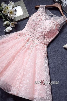 A-Line Lace Pink Sleeveless Appliques Homecoming Dress_4