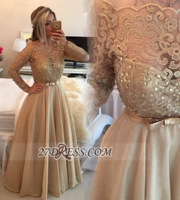 Luxurious Long Sleeve Beadings Evening Dress With Lace Appliques And Bowknot_1