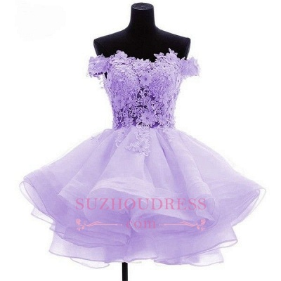 Short Flowers Ruffles Cute Off-the-Shoulder Homecoming Dress_1