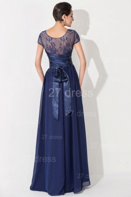 Newest Illusion Cap Sleeve Evening Dress A-line Bowknot_4