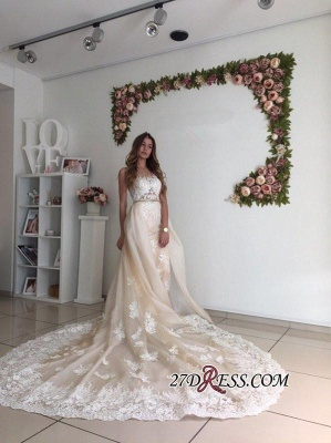 Mermaid Gorgeous Detachable-Cathedral-Train Tulle Lace Wedding Dresses_1