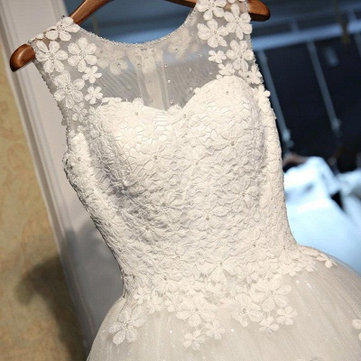 Stunning Sleeveless Scoop Wedding Dress 2020 tulle Lace Appliques_4