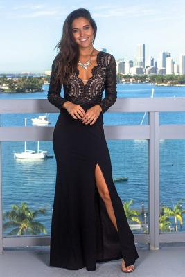 Sexy Lace Appliques Long Sleeves Mermaid Evening Gown | V-Neck Front Split Black Prom Dress On Sale BC0641_2
