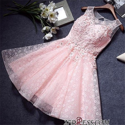 A-Line Lace Pink Sleeveless Appliques Homecoming Dress_3