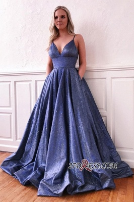 Spaghetti-strap Attractive V-neck A-line Ruffles Sequin-tulle Prom Dress_2
