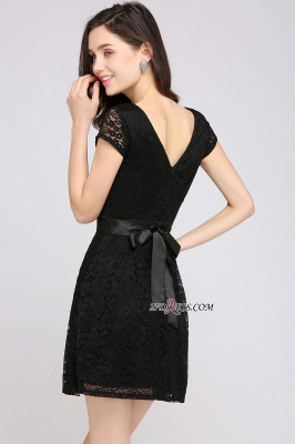 Cap-Sleeves Short Sash Simple Jewel Black Lace Homecoming Dress_2