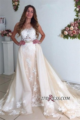 Mermaid Gorgeous Detachable-Cathedral-Train Tulle Lace Wedding Dresses_5