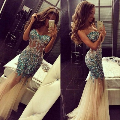 Luxurious Crystals Tulle Mermaid Prom Dress 2020 Sweep Train_3