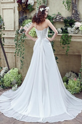 Newest Strapless White Beadings 2020 Wedding Dress A-line Sweep Train_5