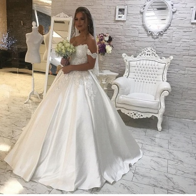 Glamorous Off-the-Shoulder Lace Wedding Dress 2020 Ball Gown Princess Bridal Wear_3