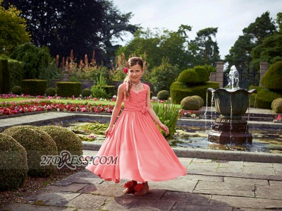 Lovely Sleeveless Chiffon Floor-length Girl Pageant Dress With Flower_2