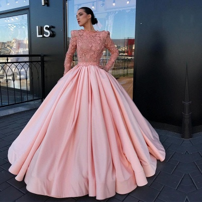 Long Sleeve Ball Gown Pink Prom Dress | Appliques Pink Evening Gowns_3