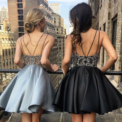 Gorgeous V-Neck Spaghetti-Straps Homecoming Dress | Beadings Mini Short Prom Dress_3