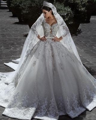 Glamorous Long Sleeve Ball Gown Wedding Dress | 2020 Lace Appliques Bridal Gowns On Sale_1
