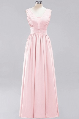 Gorgeous V Neck A-Line Sleeveless Evening Gown   2020 Ruched Floor-Length Zipper Prom Dress On Sale_5