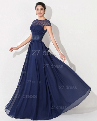 Newest Illusion Cap Sleeve Evening Dress A-line Bowknot_3