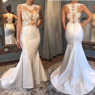 Glamorous Sleeveless Mermaid Appliques 2020 Evening Dress On Sale_3
