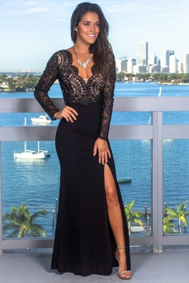 Sexy Lace Appliques Long Sleeves Mermaid Evening Gown | V-Neck Front Split Black Prom Dress On Sale BC0641_1