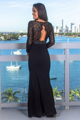 Sexy Lace Appliques Long Sleeves Mermaid Evening Gown | V-Neck Front Split Black Prom Dress On Sale BC0641_3