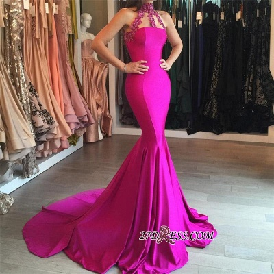 Sweep-Train Sleeveless Modest High-Neck Mermaid Lace-appliques Prom Dress_1