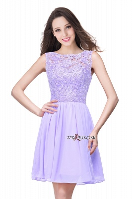 Cheap A-Line Short Lace Sleeveless Homecoming Dress_7