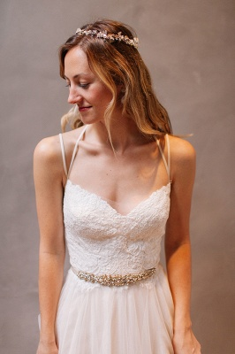 Modern Sweetheart Sleeveless 2020 Wedding Dress Tulle lace Beads WE0164_1