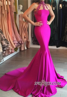 Sweep-Train Sleeveless Modest High-Neck Mermaid Lace-appliques Prom Dress_2