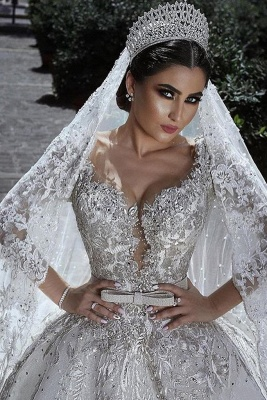 Glamorous Long Sleeve Ball Gown Wedding Dress | 2020 Lace Appliques Bridal Gowns On Sale_2