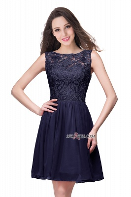 Cheap A-Line Short Lace Sleeveless Homecoming Dress_2