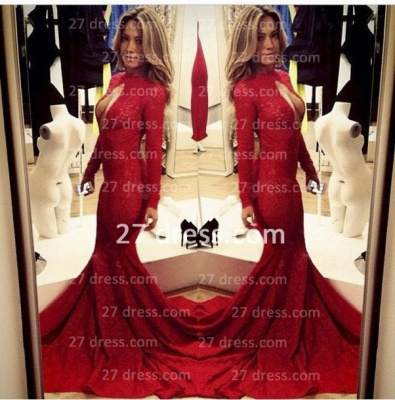 Sexy Lace Vintage Retro Mermaid prom Dresses Red Front Open Long Sleeve Prom Gowns with Sweep Train_3