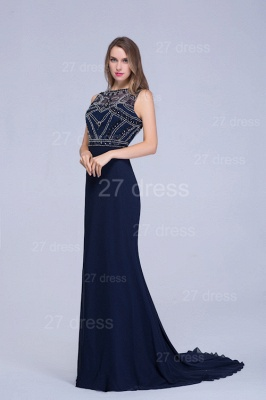 Newest Illusion Mermaid Beadings Evening Dress Sweep Train_2