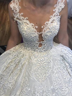 V-Neck Strap Sleeveless Beading Wedding Dress Lace Appliques Ball Gowns_3