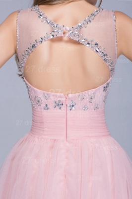 Lovely Illusion Pink Short Homecoming Dress Sleeveless With Crystals_3