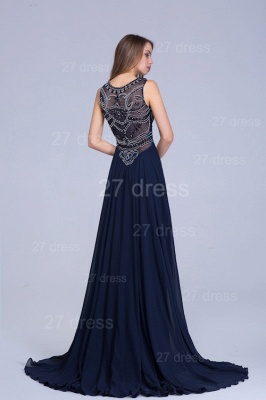 Newest Illusion Mermaid Beadings Evening Dress Sweep Train_5